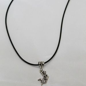 Small Metal Skeleton Necklace with black chain